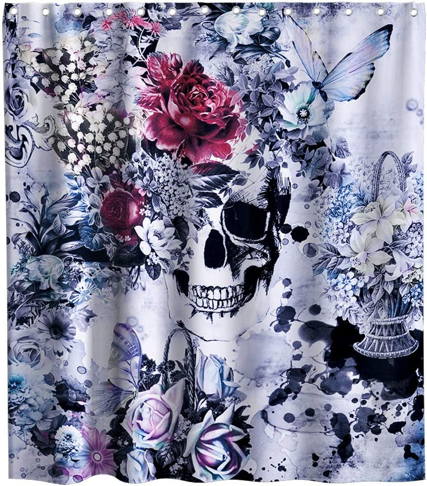 Final Friday Sugar Skull Shower Curtain Funny Purple Floral Butterfly Theme Fabric Bathroom Halloween Decor Sets with Hooks Waterproof Washable 70 x 70 inches Coral and Black