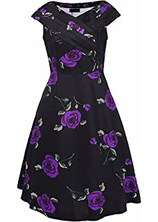 Collocation-Online 2018 Floral Print Party V Neck Swing Dress Cocktail Dress,X-