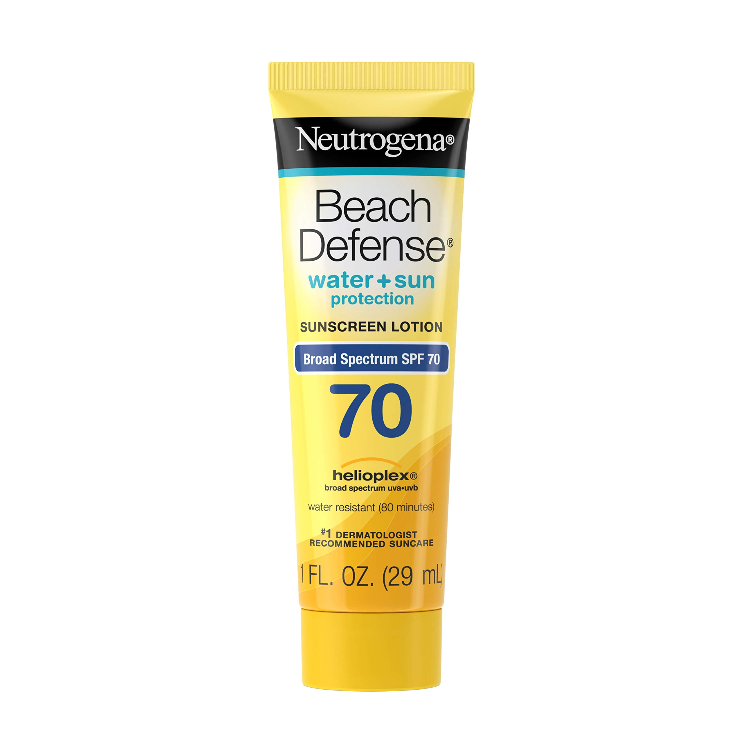 Neutrogena Beach Defense Water Resistant Sunscreen Body Lotion with Broad Spectrum SPF 70, Oil-Free and Fast-Absorbing, 1 oz