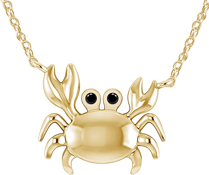 Pretty Jewels 0.04 Ct Black Real Diamond in 14K White Gold Fn 925 Sterling Silver Sea Crab Pendant Necklace