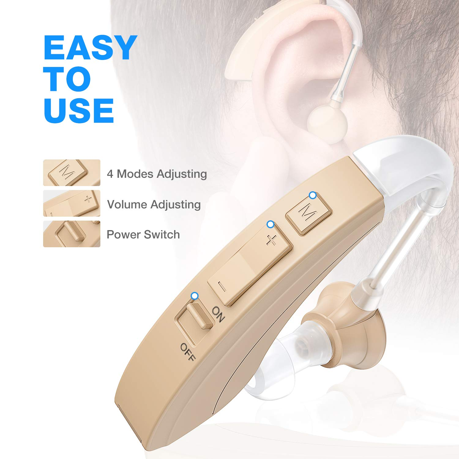 Hearing Amplifier FDA Approved Digital Personal Sound Enhancement Device with Noise Reduction for Adults and Seniors, 2 Pcs 500hr Batteries and Hearing Aid Brushes Included