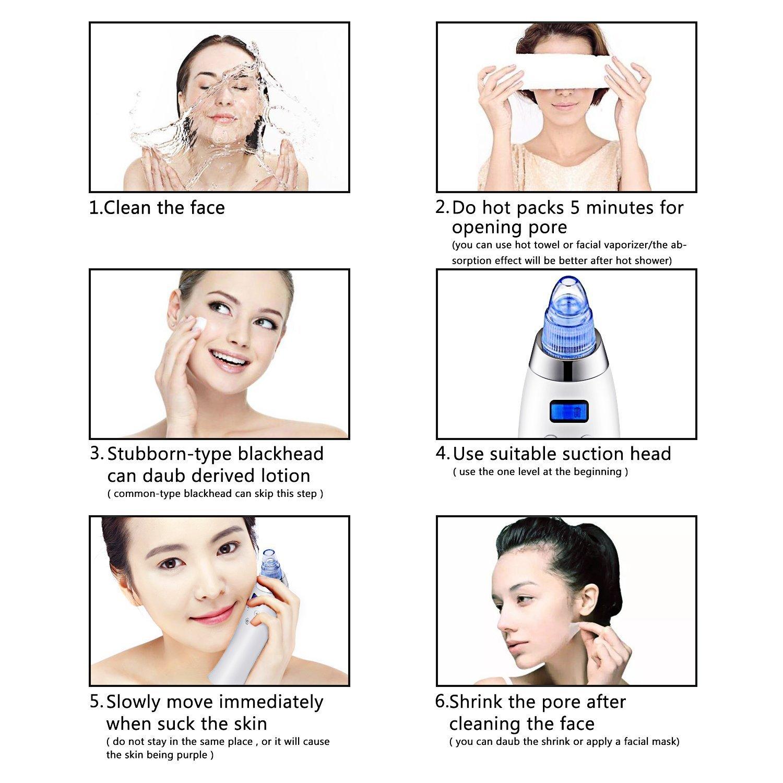 Beautsytar Limpiador Facial de Poro Eléctrico-Dispositivo exfoliantes y limpiadoras, Poros y Acné Limpiador,Dispositivo Cara Piel con 4 cabezales ...