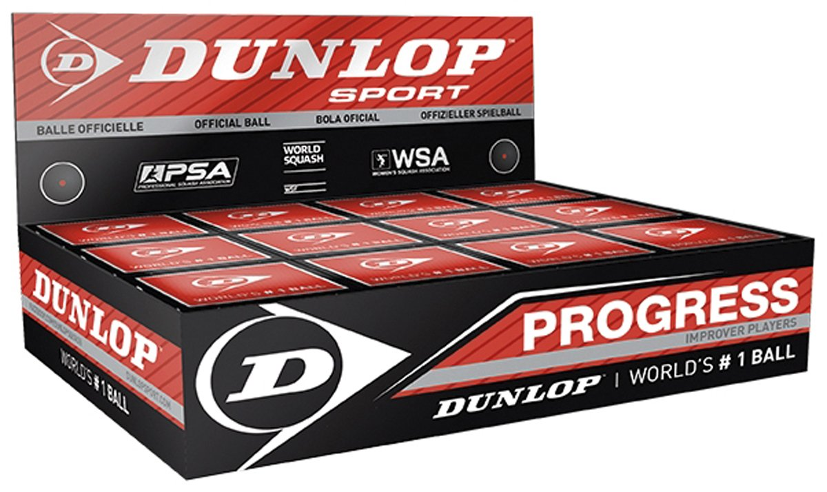 Dunlop Progress Sports Recreational Players Official Squash Balls Box Of 12