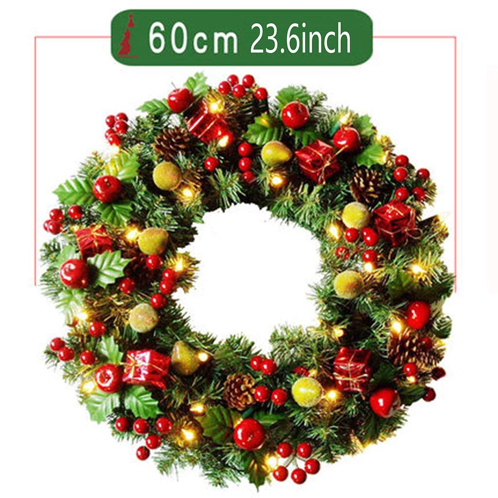 JIAJIANPING Christmas Decorative Wreath,Red Berries and Green Artificial Leaves Accessories for Front Door Window Wreath - Round (Size : 60cm) by JIAJIANPING