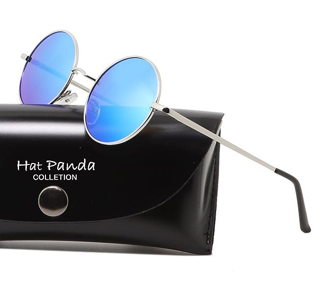 Hat Panda Steampunk estilo retro inspirado círculo metálico redondo gafas de sol polarizadas para hombres (Verde dorado, Polarizado)