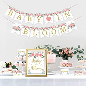 Baby in Bloom Bar Kit Baby in Bloom Banner Floral Bar Sign Food Tent Cards Labels for Boho Theme Garden Baby Shower Mommy To Be Celebration Supplies Spring Gender Reveal Decorations