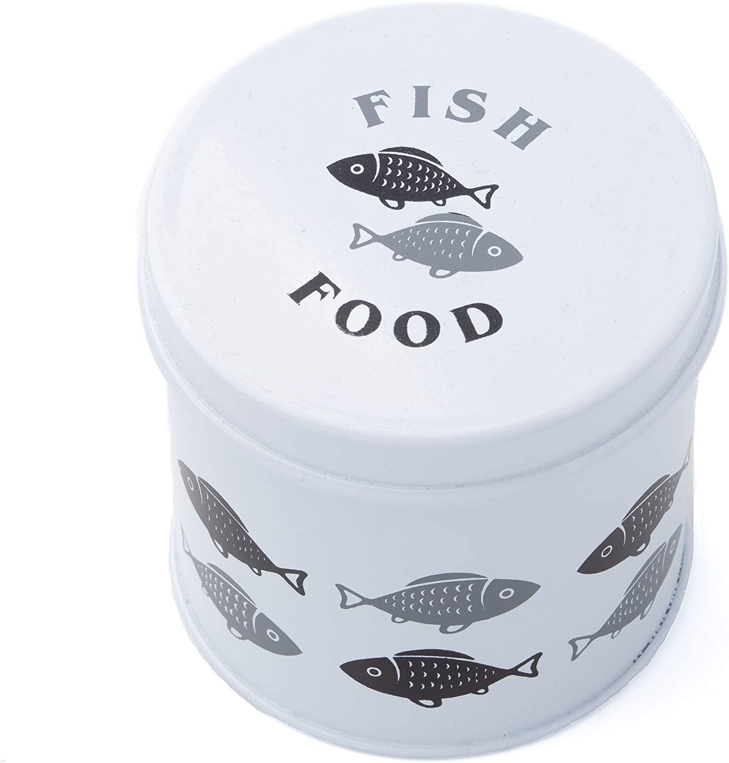Simple Design White Round Fish Tin for Fish Food Storage | Easy to Store on or Near Your Fish Aquarium or Fish Tank | Lightweight & Tight Seal for Your Fish Food