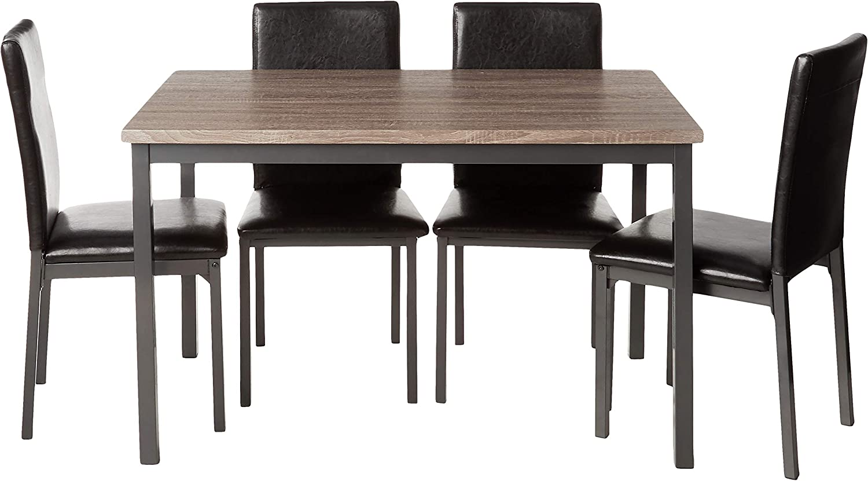 Coaster Home Furnishings Garza 5-Piece Rectangular Table Dining Set Grey and Black