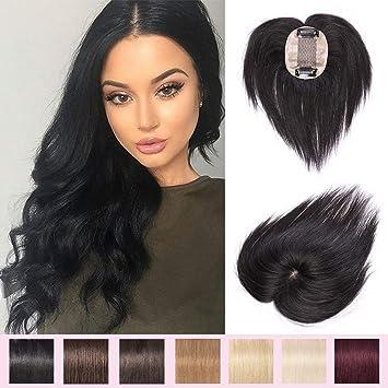 Toppers para el pelo humano para mujer con clip en extensiones de ...