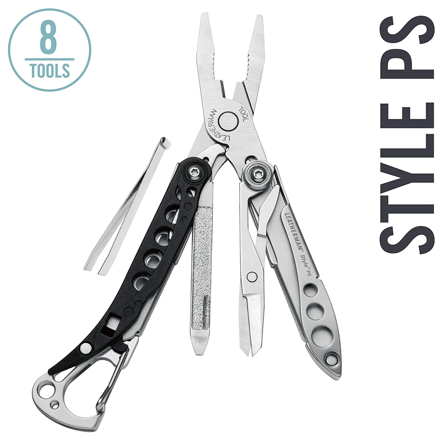 LEATHERMAN – Style PS Keychain Multitool with Spring-Action Scissors and Grooming Tools, Black