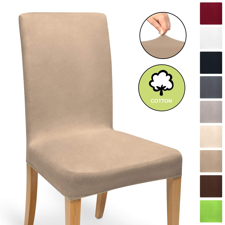 Beautissu Funda de sillas MIA - 35x50 cm Funda elástica de algodón - Bi-elástica - ÖKO-Tex - Turrón: Amazon.es: Hogar