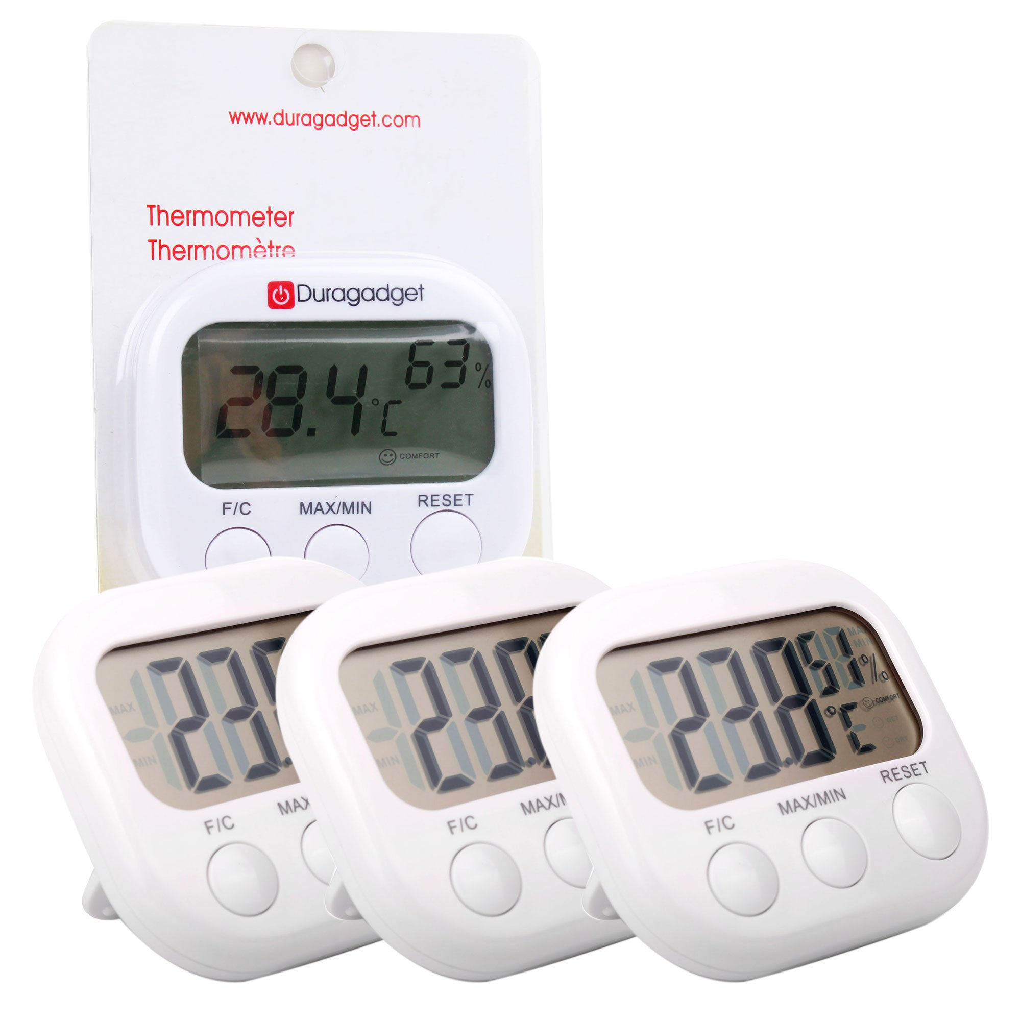 DURAGADGET Triple-Pack Small Indoor LCD Room Temperature & Humidity Thermometer/Gauge with Stand and Digital Display - Perfect for Use in The Office Or at Home