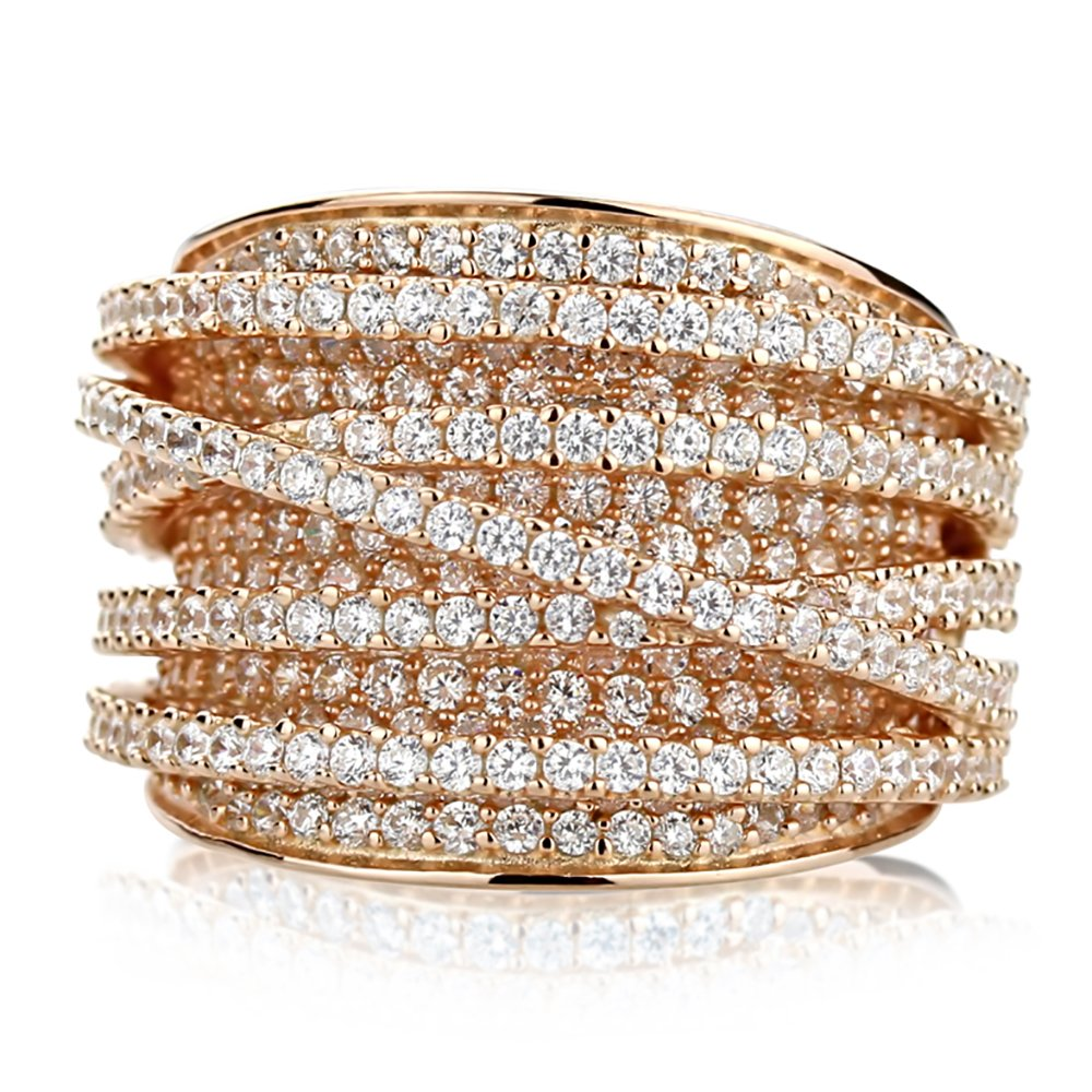 Sterling Silver 14K Gold or Rose Gold Plated Intertwined Design CZ Beautiful Pave Right Hand Ring 15mm