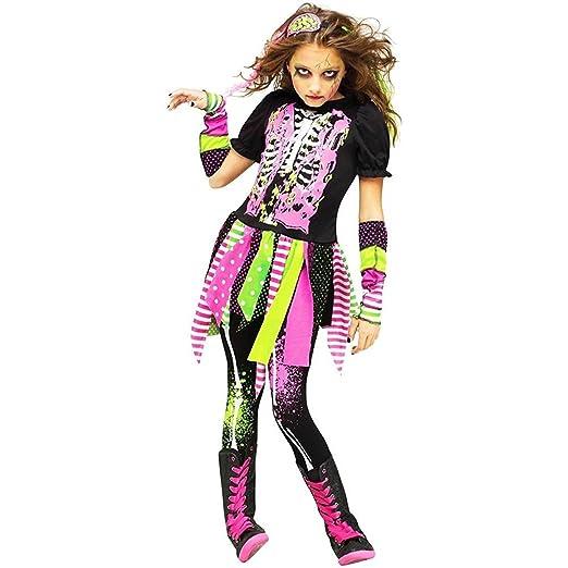 Wonderful Neon Zombie Girl Kids Costume