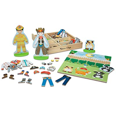 Melissa & Doug Occupations Magnetic Dress-Up Wooden Dolls Pretend Play Set (82 pcs): Toys & Games