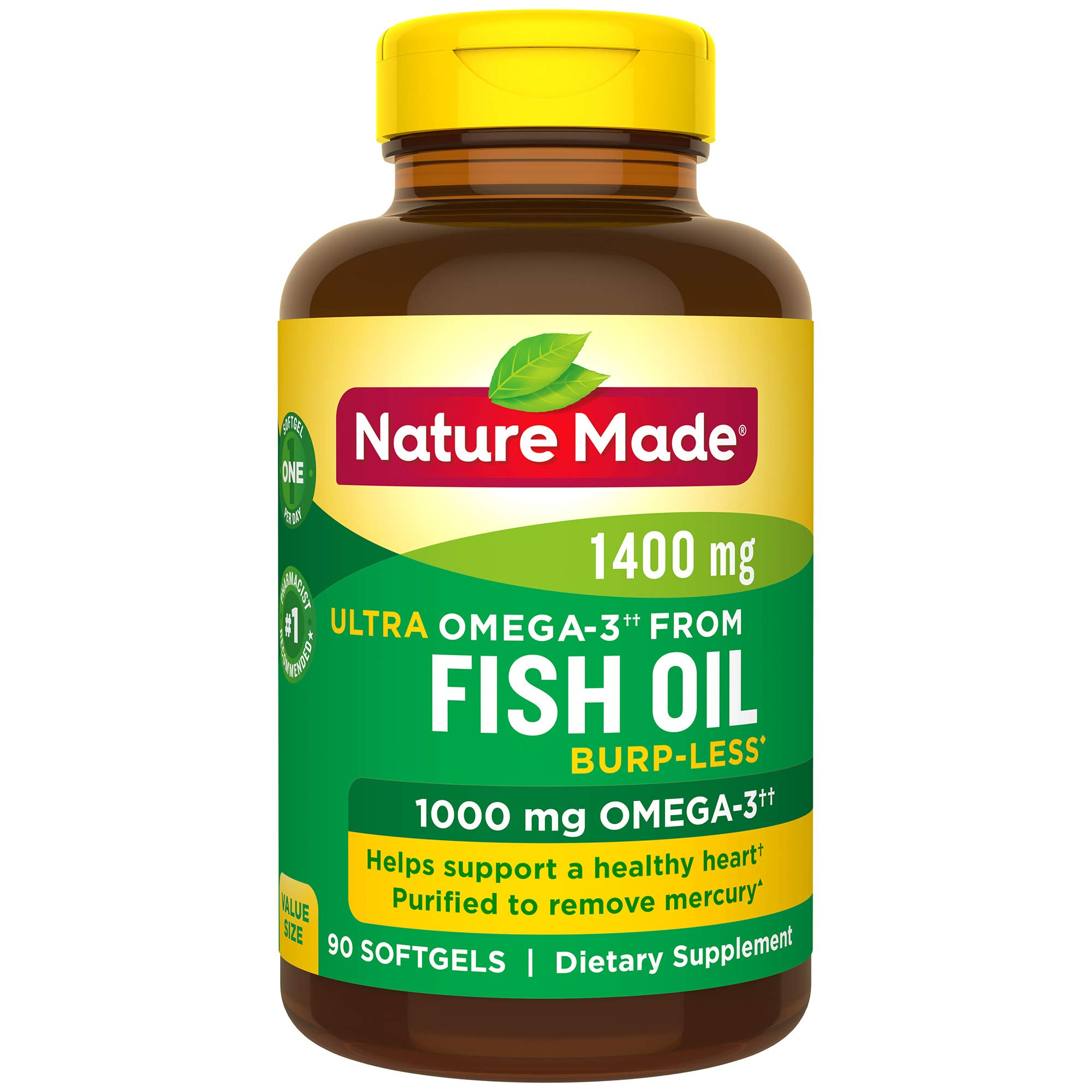 Nature Made Burp-Less Ultra Omega-3†† from Fish Oil 1400 mg Softgels, 90 Count (Packaging May Vary) by Nature Made