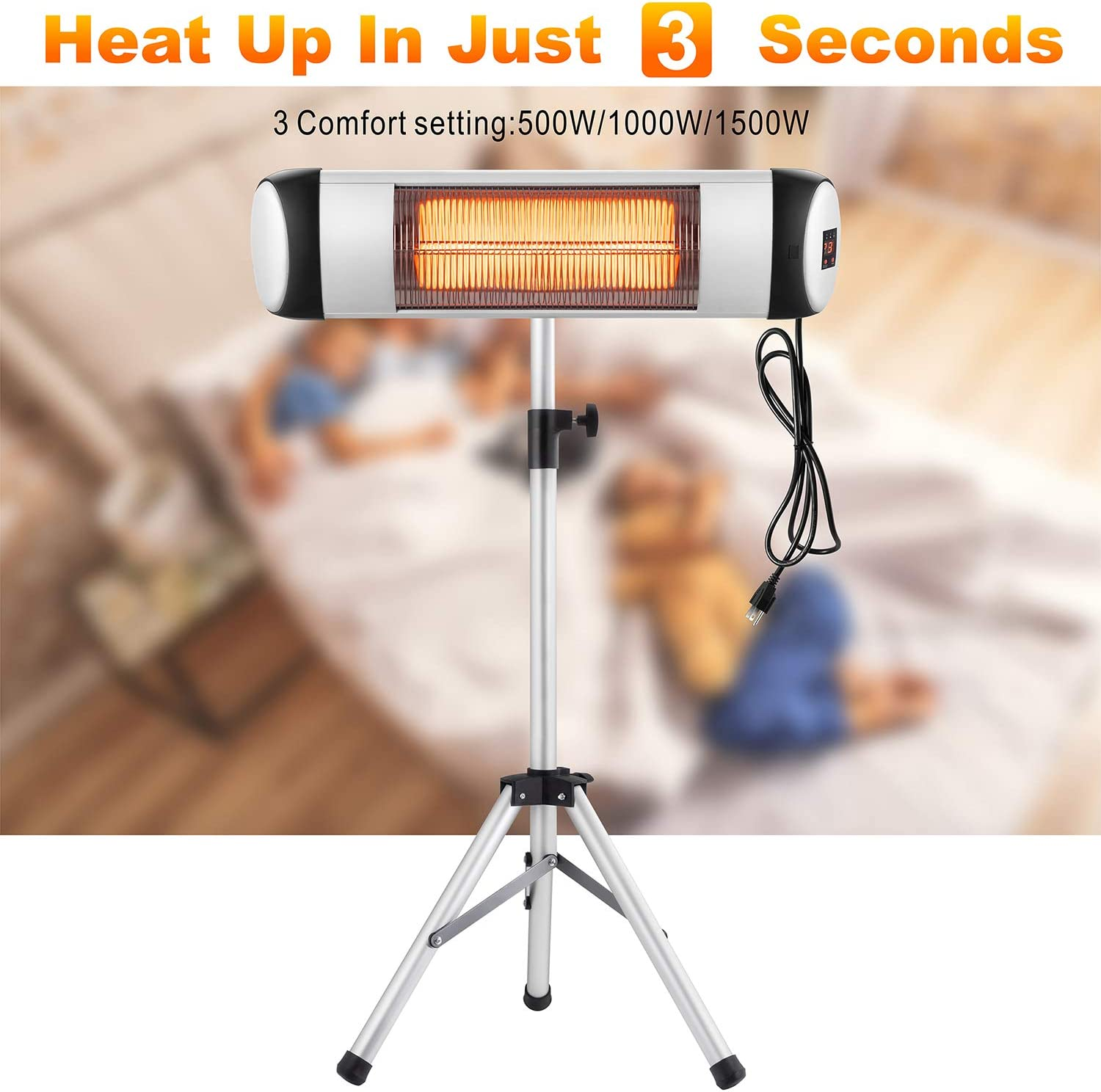 Outdoor//Indoor Electric Infrared Heater Freestanding/&Wall Mounted Space Heater for Garden Garage with Waterproof Aluminum Pole/&Remote Control Xbeauty Electric Patio Heater Balcony