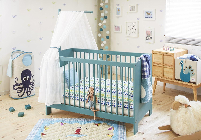 BioKinder 24011 Set Niklas Babybett 60x120 cm mit Aufhängung Kiefer blau lasiert