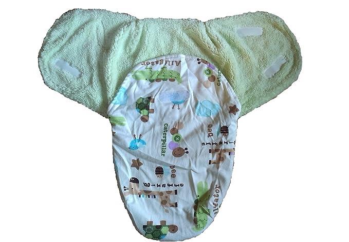 Puck Puck Toalla Saco de dormir Baby Swaddle Invierno blanco pelo invierno verde: Amazon.es: Bebé