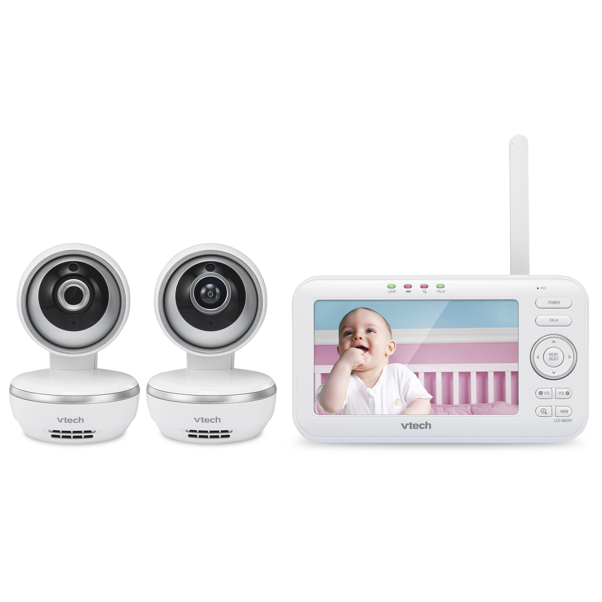 """VTech VM5261-2 5"""" Digital Video Baby Monitor with 2 Pan & Tilt Cameras, Wide-Angle Lens and Standard Lens, White by VTech (Image #7)"""