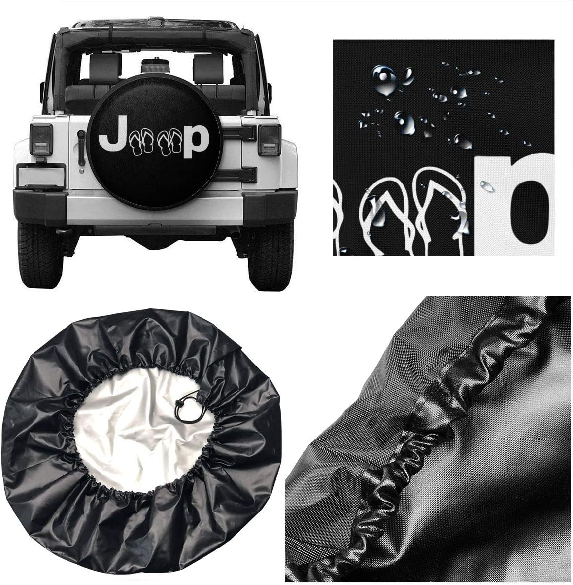 Spare Tire Covers Jeep and Flip Flops Wheel Covers Rv Tire Covers Sun-Proof Weather-Proof for Jeep Trailer RV SUV Truck Camper Travel Trailer Accessories 14 15 16 17 Inch