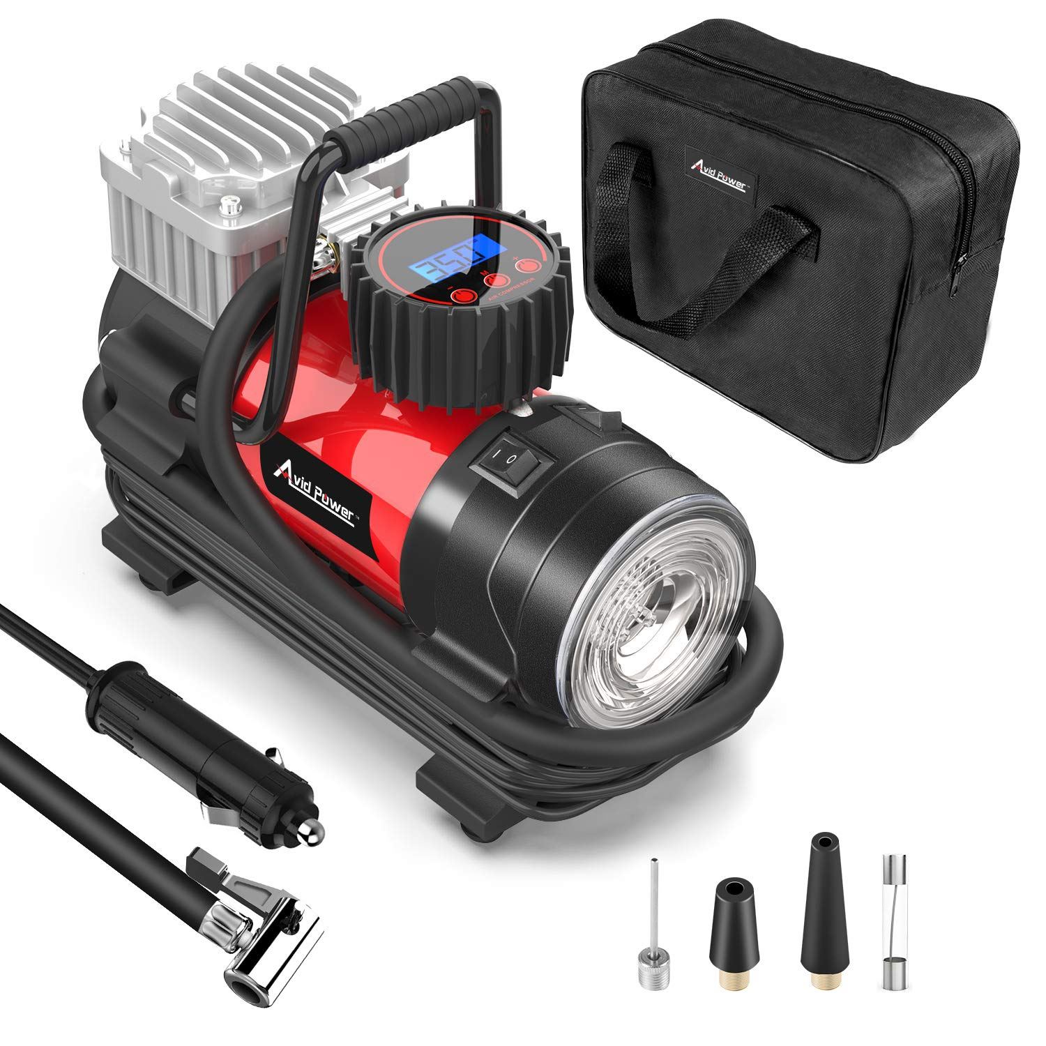 Tire Inflator Pump, Portable Air Compressor 12V 150 PSI with Digital Display Gauge, LED Flashlight, Overheat Protection, Extra Nozzle Adaptors, Avid Power