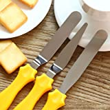 Bulfyss 3-in-1 Multi-Function Stainless Steel Cake Icing Spatula Knife Set, 3-Pieces, Multicolor