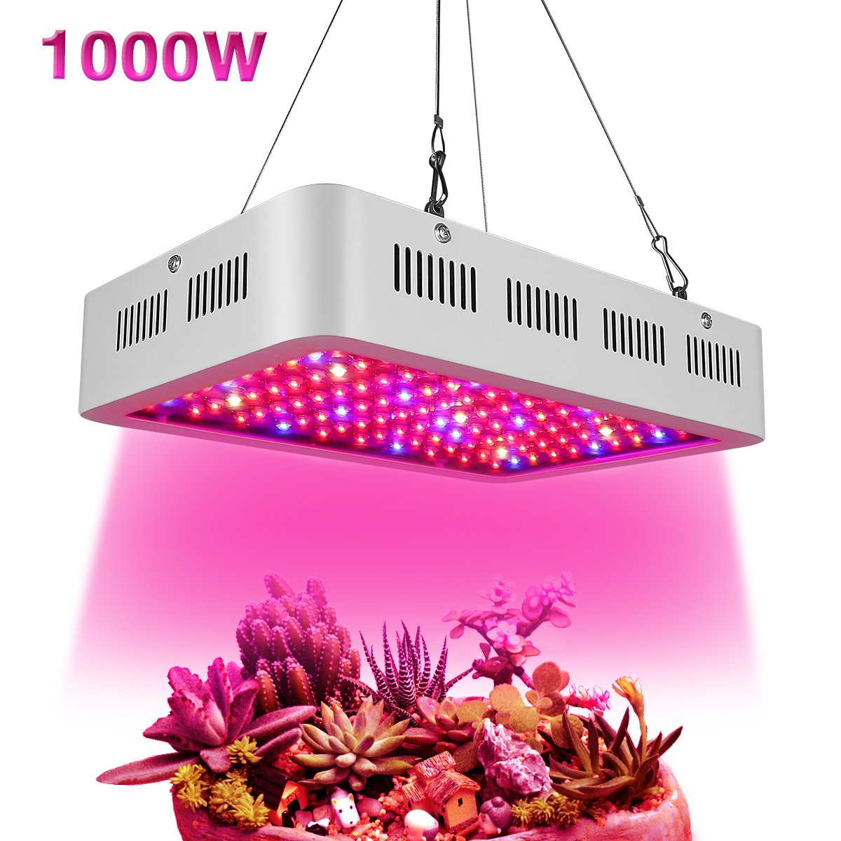 Led Grow Light 1000W, Full Spectrum Grow Lights Double Chips Growing Lamps with UV & IR with Protective Sunglasses for Indoor Plants Greenhouse Hydroponic Veg and Flower by Wisful
