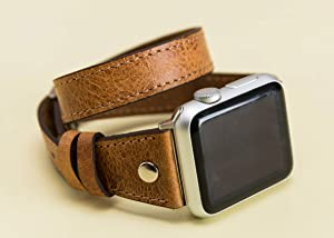 Double Tour Apple Watch Leather Band for Women 38mm, 40mm, 42mm, 44mm Slim iWatch Band Genuine Leather Personalization Avaliable, EXPRESS SHIPPING, HANDMADE, READY to SHIP