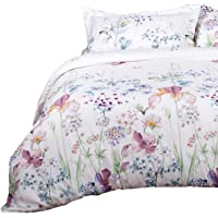 Bedsure Printed Floral Duvet Cover Set King Size White Soft Duvet Cover Zip Bedding Sets Collection