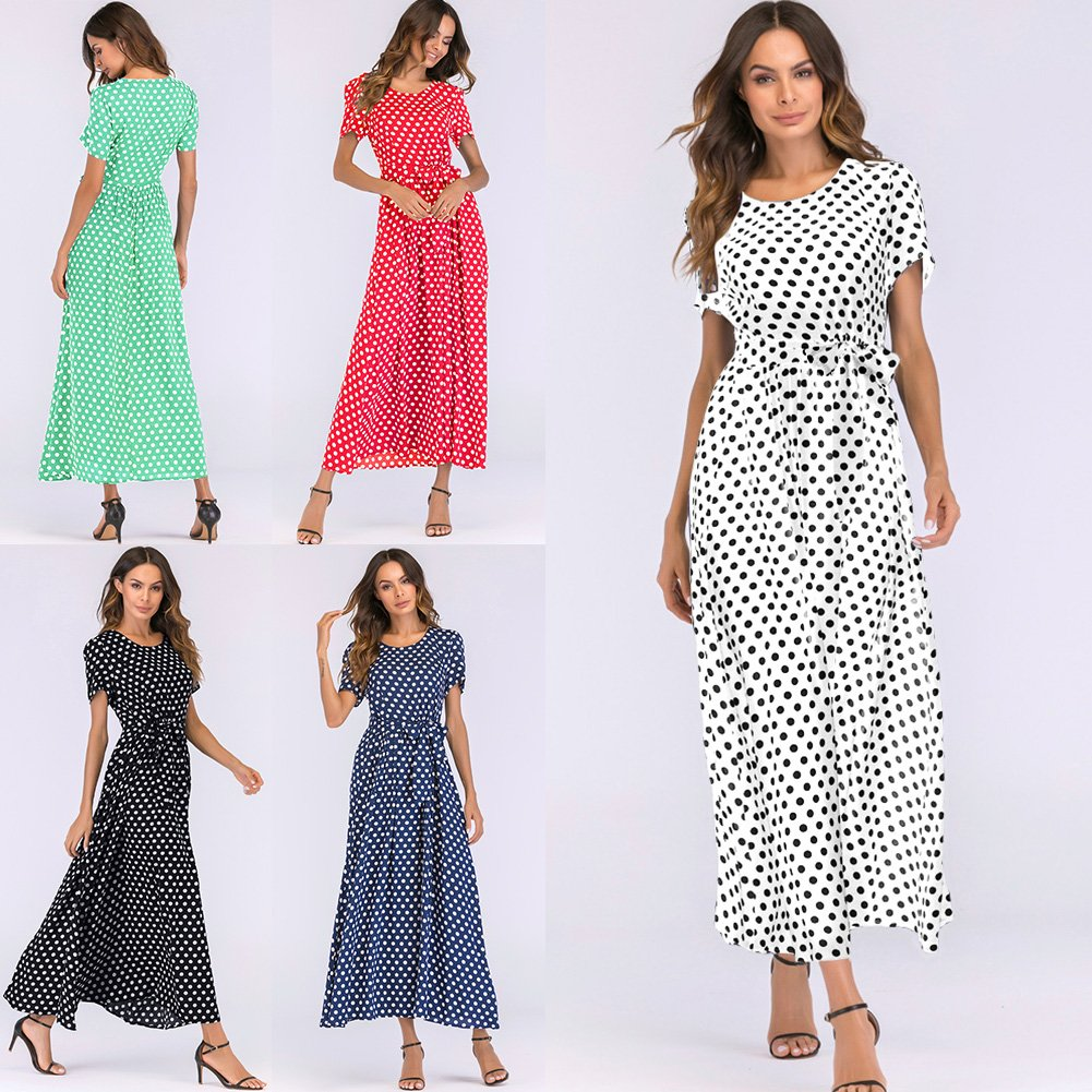 Romacci Women Polka Dot Long Dress Short Sleeves High Waist Tie A-Line Vintage Maxi Dress (L, Black) by Romacci (Image #4)