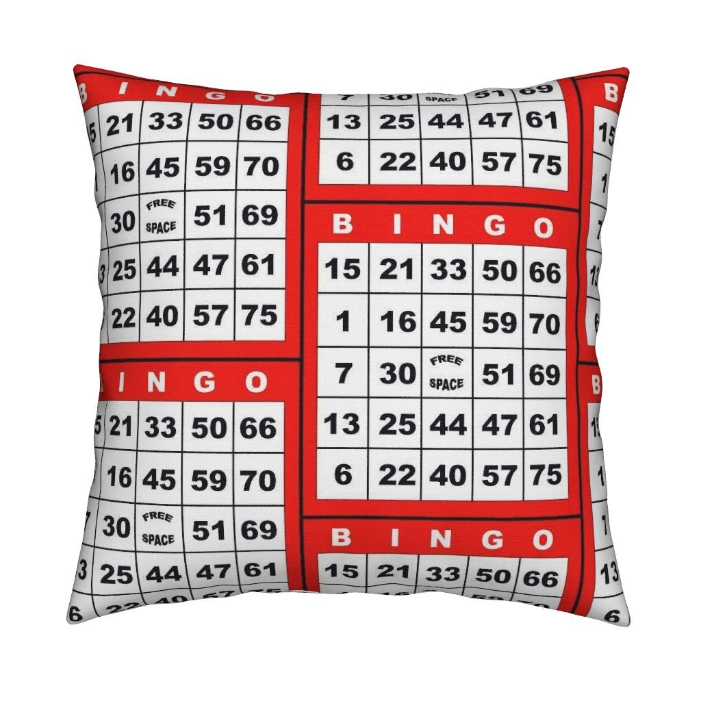 Roostery Bingo Organic Sateen Throw Pillow Bingo Red 1On by Dd Baz Cover and Insert Included by