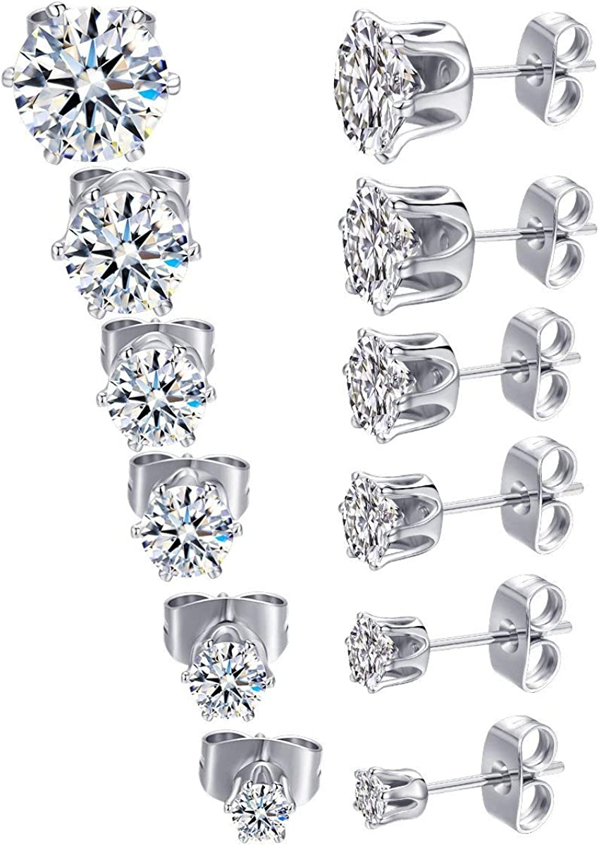 QHiYan Round Cubic Zirconia Stud Earrings for Men Women Stainless Steel White Gold Plated Earring Packs of 6