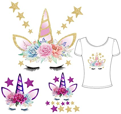 Unicorn Iron On Patch Iron-on Heat Transfer Patches and Flowers&Stars  Eco-Friendly Material Set of 3 DIY Decorative