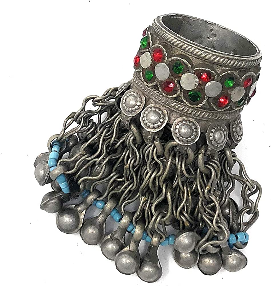 Duel On Jewel Tribal Turkman Fabric Belly Dance Anklet with Loud Bells Afghani Gypsy Kuchi