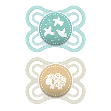 Glow in the Dark Pacifiers Best Pacifier for Breastfed Babies MAM MAM Perfect Night Pacifiers 2 pack Unisex Baby Pacifier MAM Pacifiers 16 Plus Months