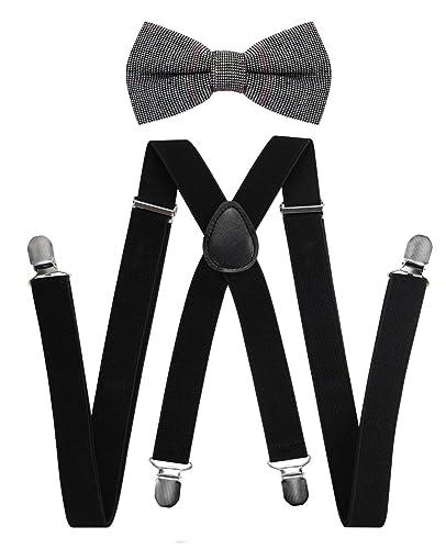 axy hochwertige herren schwarze hosentrager mit fliege set 4 starken clips x form