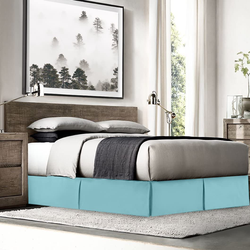 "Empyrean Bedding Pleated Bed Skirt - Luxury Microfiber Dust Ruffle - 14"" Tailored Drop - Sleek Modern Bed Skirt - Bonus Bed Skirt Pins Set of 8 Included, Twin XL, Light Blue"
