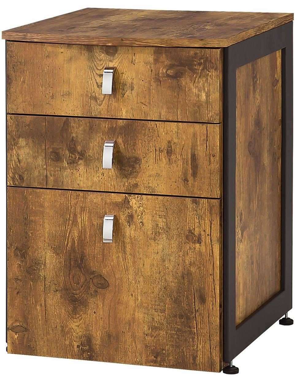 Estrella 3-Drawer File Cabinet  Antique Nutmeg and Gunmetal by Coaster Home Furnishings