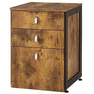 Estrella 3-Drawer File Cabinet  Antique Nutmeg and Gunmetal