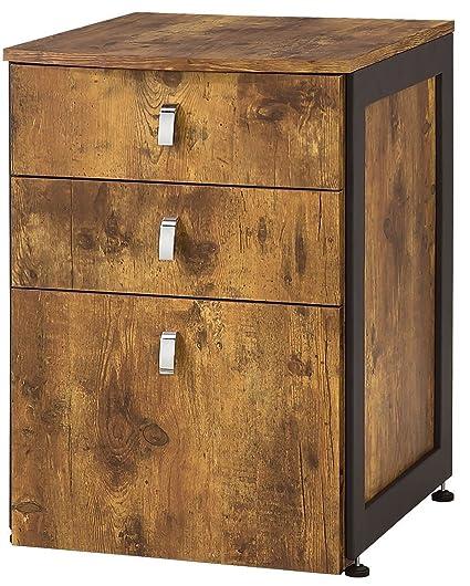 Estrella 3-Drawer File Cabinet Antique Nutmeg and Gunmetal - Amazon.com: Estrella 3-Drawer File Cabinet Antique Nutmeg And