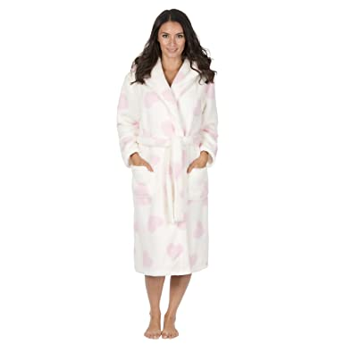 Forever Dreaming Ladies Heart Design Hooded Snuggle Fleece Dressing Gown   Amazon.co.uk  Clothing 6d2e24b18