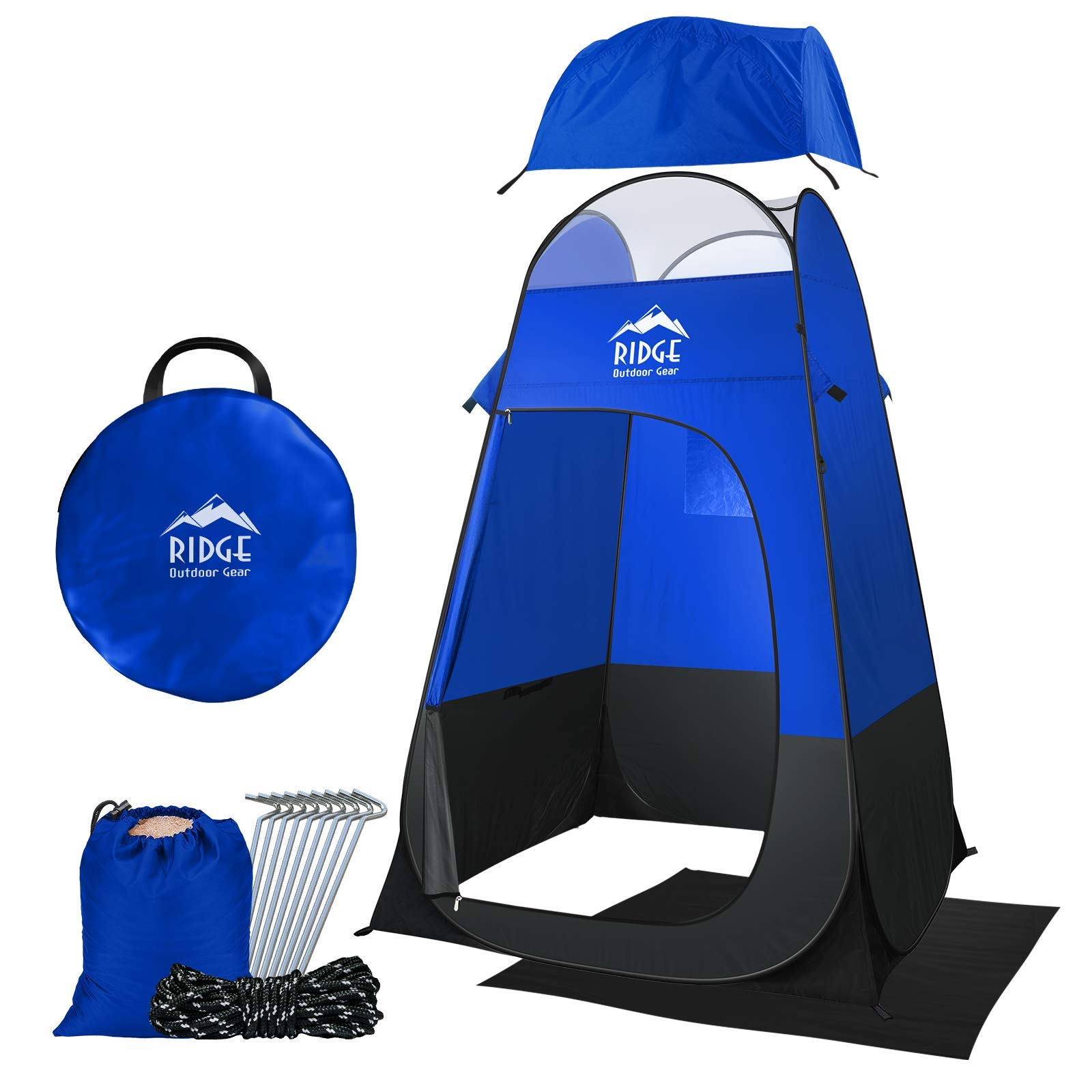 Ridge Outdoor Gear 6.5ft Pop Up Changing Shower Privacy Tent - Portable Utility Shelter Room with rainfly Ground Sheet for Camping Shower Toilet Bathroom Trade Shows Beach Spray tan popup by Ridge Outdoor Gear