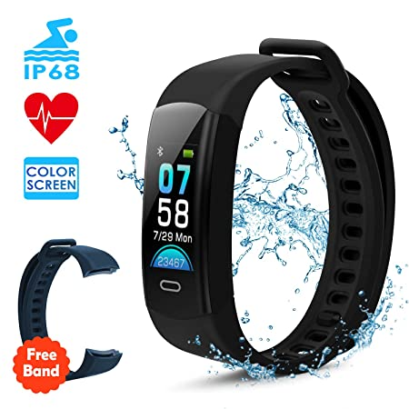DETUOSI Fitness Tracker HR with Heart Rate Monitor Color Screen Waterproof Smart Watch Activity Tracker with Sleep Monitor Calorie Counter Step Counter Pedometer for Women Men Kids