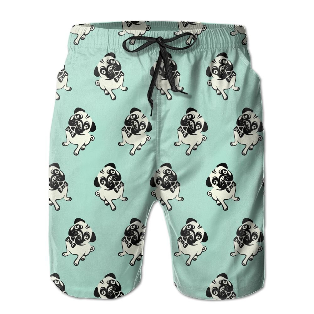 Men Pugs Quickly Drying Lightweight Fashion Board Shorts Swim Trunks L by COOA