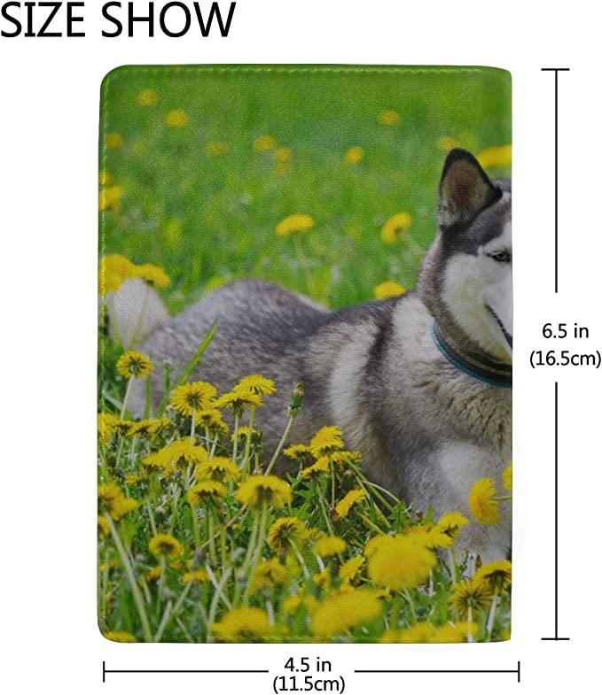Dog And Yellow Spring Flowers Blocking Print Passport Holder Cover Case Travel Luggage Passport Wallet Card Holder Made With Leather For Men Women Kids Family