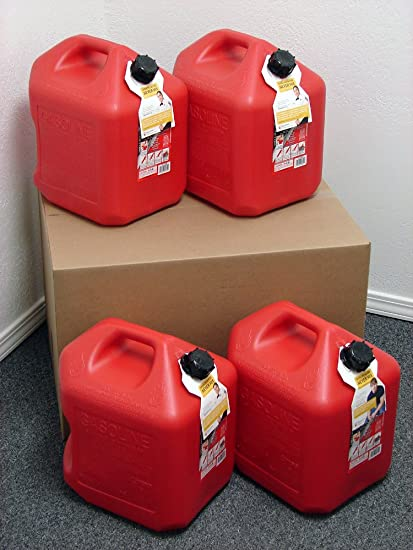 Plastic Gas Cans >> 5 Gallon Gas Can 4 Pack Spill Proof Fuel Container New Clean Boxed