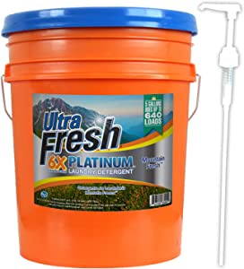Ultra Fresh Platinum Mountain Fresh HE Liquid Laundry Detergent, Concentrated, Up to 640 Loads. 5 Gallons (640 oz)