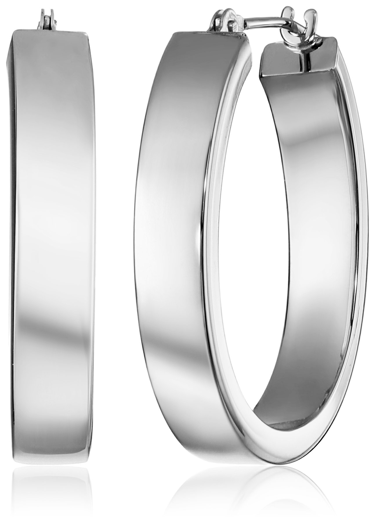 14k White Gold Oval Hoop Earrings, 1''