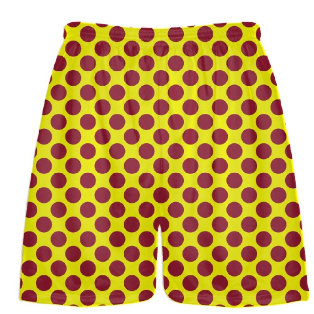 Athletic Shorts LightningWear Yellow Cardinal Red Polka Dot Shorts Polka Dot Lacrosse Shorts